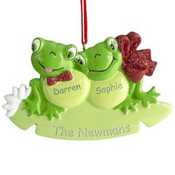 2 Frogs on Lily Pad Personalized Ornament