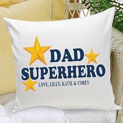 Personalized Superhero Dad Throw Pillow