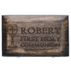 Personalized First Communion Wood Rosary Box