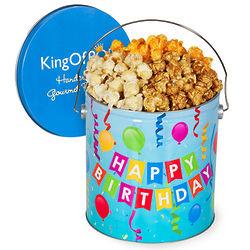 1 Gallon of People's Choice Popcorn Mix in Happy Birthday Tin