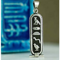 Personalized Egyptian Hieroglyphics Name Pendant in Silver