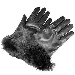 Black Cashmere Lined Italian Leather Gloves with Fur