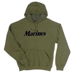 Marines PT Hooded Pullover OD Sweatshirt