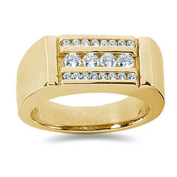 0.56 ctw Men's Diamond Ring in 14K Yellow Gold