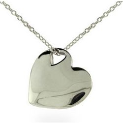 Tiffany Style Solid Heart Sterling Silver Pendant