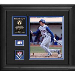 Michael Young Texas Rangers Framed Photograph