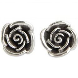 Sweetheart Rose Sterling Silver Flower Earrings