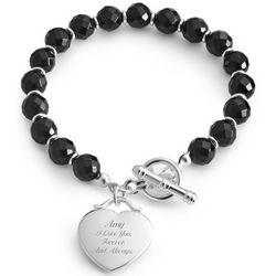 Black Beaded Bracelet with Engravable Heart Charm
