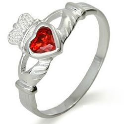 Sterling Silver Ruby Cubic Zirconia Claddagh Ring