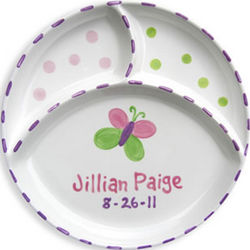 Butterfly Personalized Divided Plate