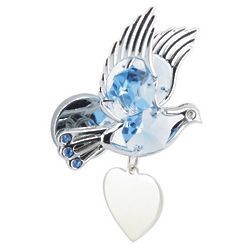Engraved Heart and Dove Blue Crystal Magnet