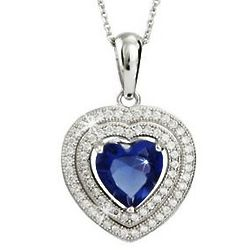 Sterling Silver Cubic Zirconia and Sapphire Heart Pendant