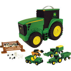 John Deere Tractor Toys and Carrying Case Value Set