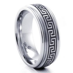 Engravable Greek Key Cobalt Chrome 8mm Ring