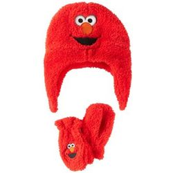 Toddler's Sesame Street Elmo Knit Hat and Mittens
