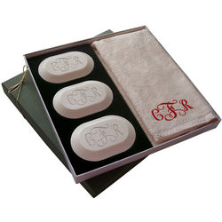 Monogrammed Soap and Hand Towel Luxury Gift Set