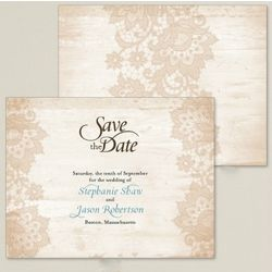 Woodland Lace Save the Date Card