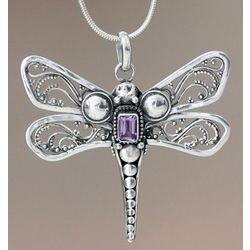 Amethyst Lavender Dragonfly Pendant