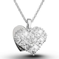 Cubic Zirconia Heart Baguette Necklace