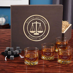 Personalized Scales of Justice Rocks Glasses and Whiskey Stones