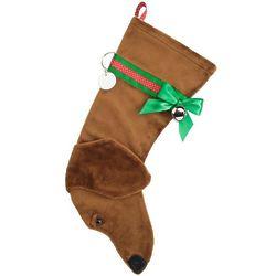 Tan Dachshund Christmas Stocking