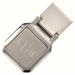 Personalized Square Silver Money Clip