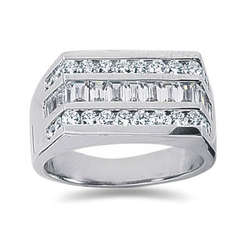 1.60 ctw Men's Diamond Ring in 14K White Gold