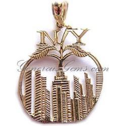 14k Yellow Gold New York City Skyline Big Apple Charm