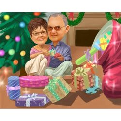 Christmas Morning Caricature from Photos