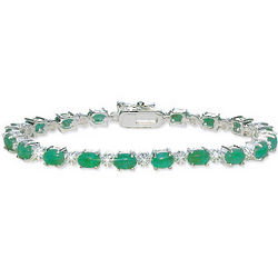 Emerald Sterling Silver Bracelet with Diamond Accents