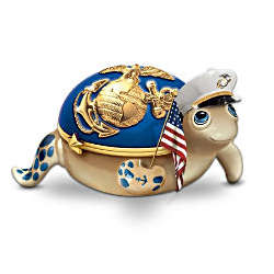 USMC Porcelain Charming Officer Turtle Music Box