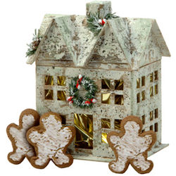 Birch Winter House Box with Gingerbread Cookies