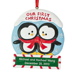 "Personalized ""Our First Christmas"" Penguin Ornament"
