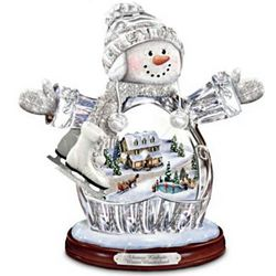 Thomas Kinkade Winter Wonderland Crystal Snow Girl Figurine