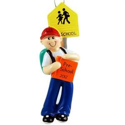 Pre-School Boy with Backpack Ornament