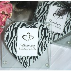Zebra Heart Print Photo Coaster Favors