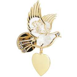 Engraved Heart and Dove Clear Crystal Magnet