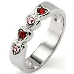 4 Stone Austrian Crystal Hearts Family Birthstone Ring