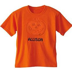 Youth Personalized Embossed Pumpkin T-Shirt