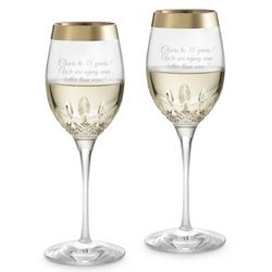 Lismore Essence Gold Band White Wine Glasses