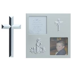 Boy's Silver First Communion Frame and Cross