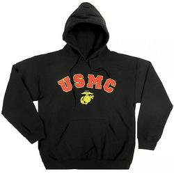 USMC Eagle, Globe & Anchor Black Hooded Sweatshirt