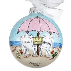 Beach Wedding or Honeymoon Personalized Christmas Ornament