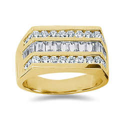 1.60 ctw Men's Diamond Ring in 14K Yellow Gold