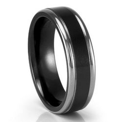 Black and Grey Titanium Flat Band
