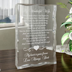 Personalized My Wonderful Wife Plaque