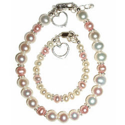 Mother and Me Pink and Pearl Jewerly Set