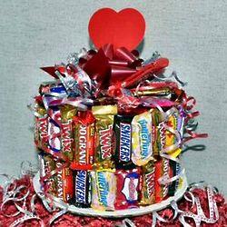 Valentine Candy Bar Cake