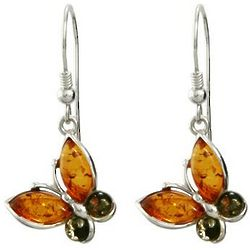 Baltic Amber Sterling Silver Butterfly Earrings