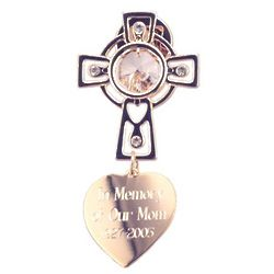 Engraved Golden Cross and Crystal Ornament